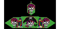 Day of the Dead Pirate Bracelet and Earring Set
