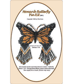 Monarch Butterfly Pin Kit, #M1 (Black-Crystal-Orange)