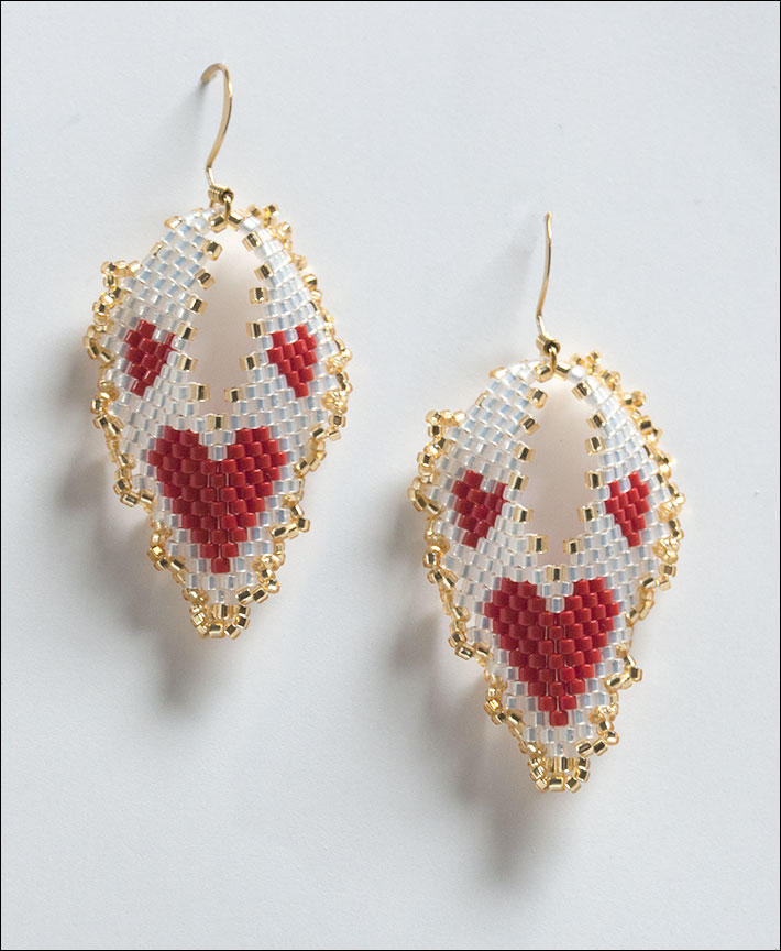 Hearts Russian Leaf Earrings