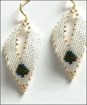 Christmas Tree Russian Leaf Earrings