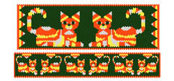 Candy Corn Calico Cat Bracelet Set