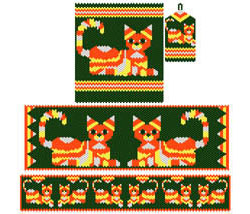 Candy Corn Calico Cat Set