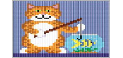 Gone Fishing Kitty, loom/square stitch