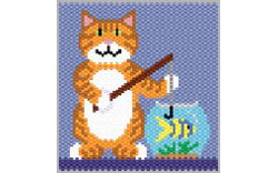 Gone Fishing Kitty, peyote/brick stitch