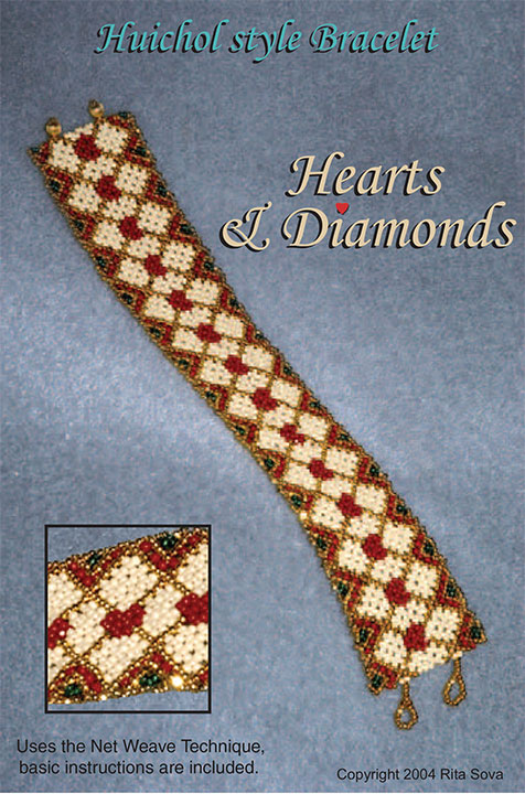 Hearts & Diamonds - Huichol style Bracelet