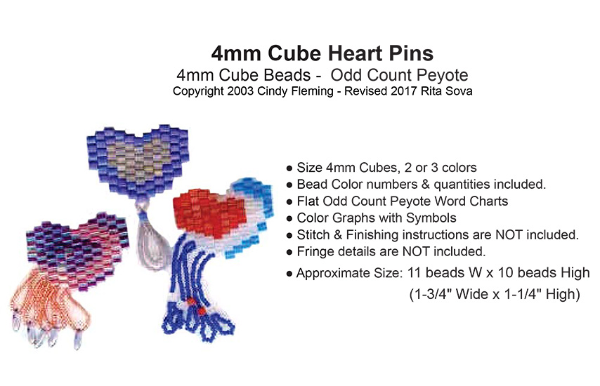 4mm Cube Heart Pins