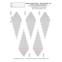 Graph Paper - Brick/Peyote/Comanche, Earring 13 Bugles wide (Del