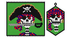 Reformed Day of the Dead Pirate Pendant and Earring Set