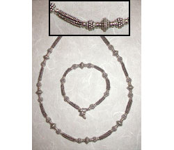 Bali Silver Herringbone Chain Necklace & Bracelet