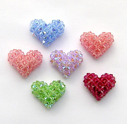 "3-D Crystal ""Puffy"" Hearts and a Strawberry"