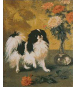 Japanese Chin with Mums