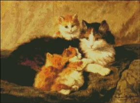 """Contentment"" Happy Cat & Kittens"