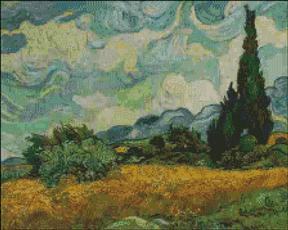 Wheat Field with Cypress