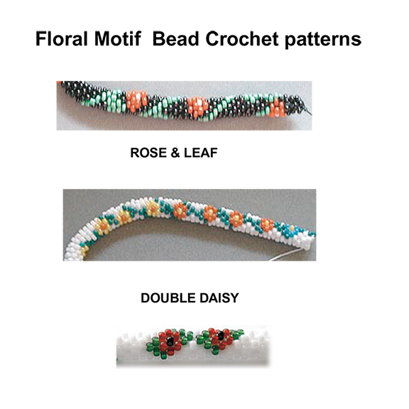 Floral Motifs for Bead Crochet Rope