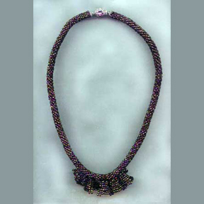 Bead Crochet Necklace with Jabot #243