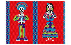 Dead Mariachi Mini Music Case 3 With Lanyard Pattern