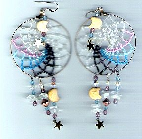 Large Beaded Dream Catcher Earrings