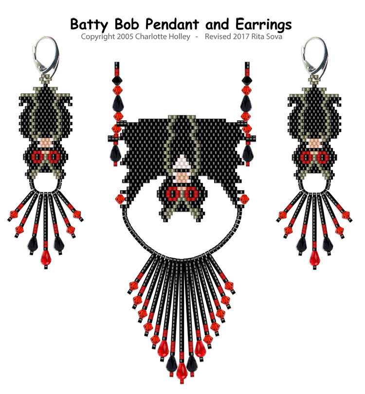 Batty Bob Pendant and Earrings