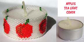 APPLES BEADED TEA LIGHT COVER