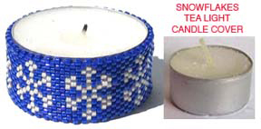 SNOWFLAKES BEADED TEA LIGHT CANDLE COVER