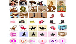 "1"" x 1"" ""Cowgirl"" Bottle Cap Charm Images"