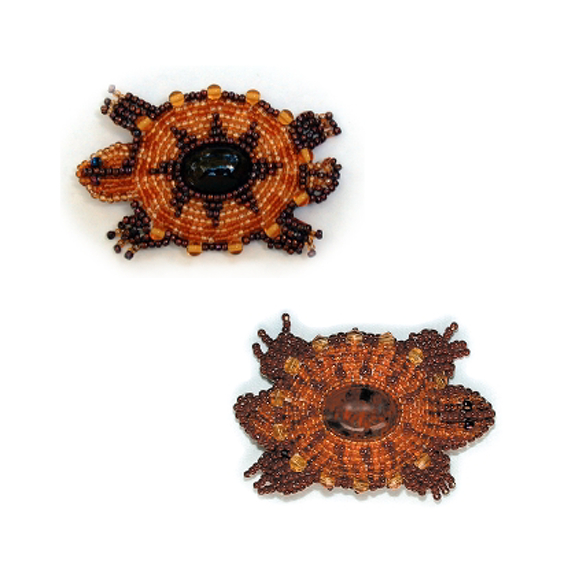 Bead Embroidery Turtle Pin