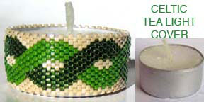 CELTIC BEADED TEA LIGHT CANDLE COVER
