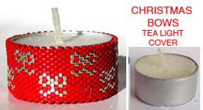 CHRISTMAS GIFT BOWS TEA LIGHT CANDLE COVER