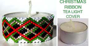 CHRISTMAS RIBBON TEA LIGHT CANDLE COVER