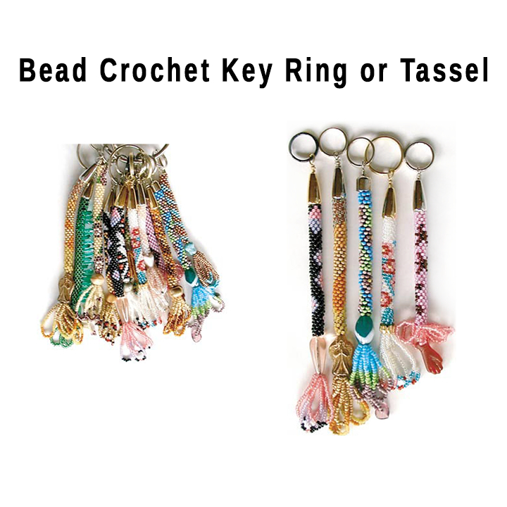 Create Key Ring or Tassel from Beaded Crochet Rope Section