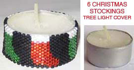 6 CHRISTMAS STOCKINGS TEA LIGHT CANDLE COVER