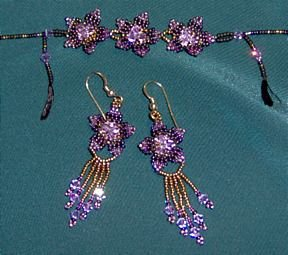 Posy Bracelet (or choker) and Earrings Set