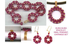 BLING BLING CIRCLE NECKLACE PENDANT, BRACELET, EARRINGS & RI