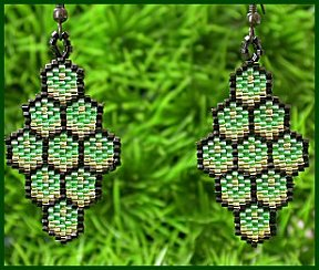 Green Honeycomb Earrings