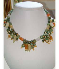 Shades of Jade Cluster Necklace