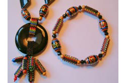 Design IV Peyote Tube Stretch Bracelet and matching necklace