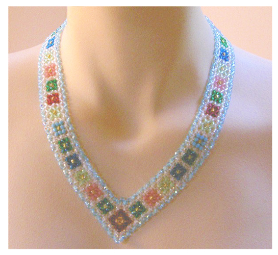 Crystal Necklace with Diagonal Right Angle Weave