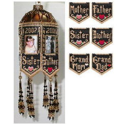 Scrapbook Memories Beaded Photo Frame Ornaments Family